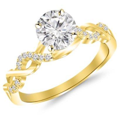038-Carat-Twisting-Infinity-Gold-and-Diamond-Split-Shank-Pave-Set-Diamond-Engagement-Ring-14K-Yellow-Gold-with-a-025-Carat-J-K-I2-Round-Brilliant-CutShape-Center