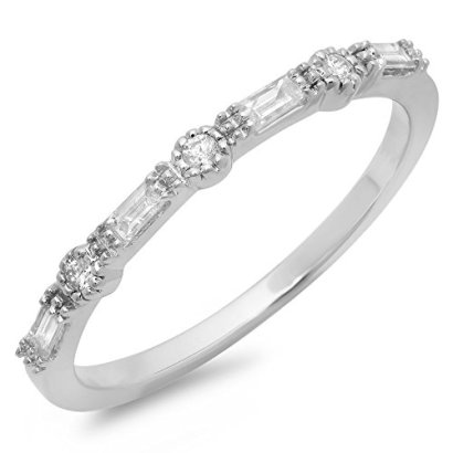 015-Carat-ctw-10K-White-Gold-Round-Baguette-Diamond-Ladies-Anniversary-Wedding-Band-Size-85