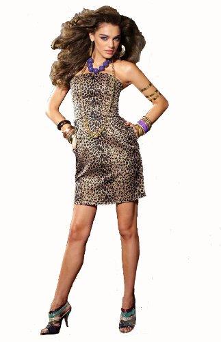 Melrose Damen-Kleid Corsagen-Kleid Leo-Muster Leoparden-Look