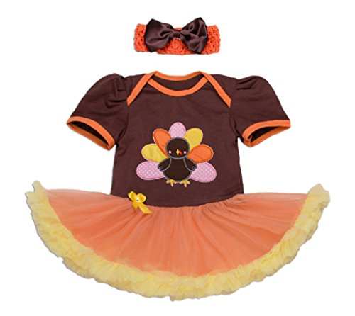 Dalary Baby Girl Short Sleeve Turkey Cartoon Halloween Costumes Tutu Dress Sets 2 Pieces (5T,Brown)