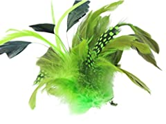 Green Assorted Feather Mix Beak Hair Clip Slide Brooch Corsage Fascinator 20cm (7.9