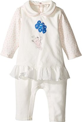 Armani-Junior-Baby-Girls-Polka-Dot-Flutter-Frog-Footie-Infant-Bianco-Latte-Baby-One-Piece-6-Months