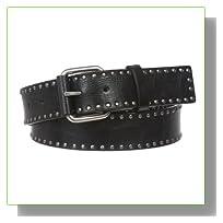 Snap On Antique Circle Metal Studded Leather Belt Size: L - 39 Color: Black