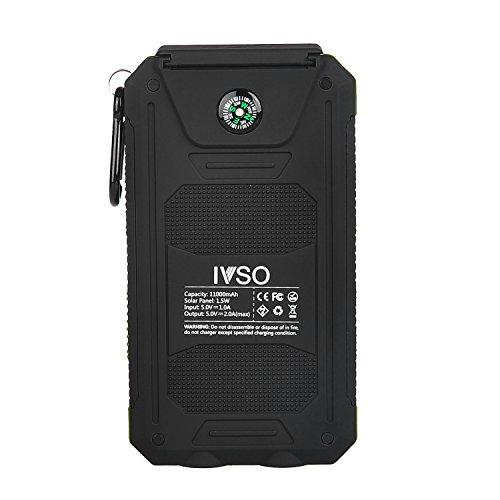 【IVSO】11000mAhソーラー充電器 サンパワーパネルパワーバンク 防水 防塵 耐衝撃 デュアルLEDライト コンパス機能付き  USBケーブル+フック付き グリーン