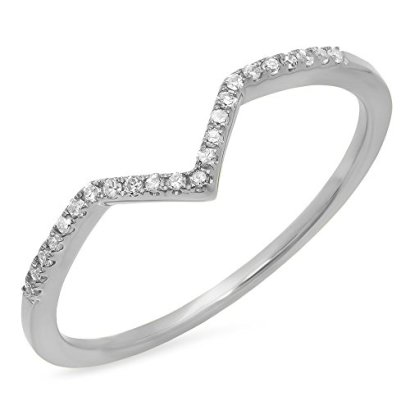 010-Carat-ctw-10K-White-Gold-Round-Diamond-Wedding-Stackable-Guard-Chevron-Ring-110-CT-Size-65