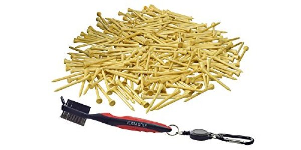 250 VersaGolf Premium Bamboo Golf Tees 2-3/4 inch length - FREE Club Cleaning Brush - Eco-Friendly - 7x Stronger than Wood Tees