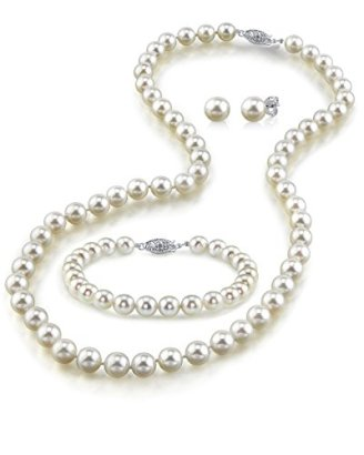 14K-Gold-7-8mm-White-Freshwater-Cultured-Pearl-Necklace-Bracelet-Earrings-Set-18-AAA-Quality