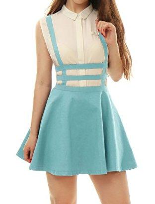Allegra-K-Women-Elastic-Waist-Cut-Out-A-Line-Suspender-Skirt-Light-Blue-XS