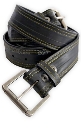 Alchemy Goods Recycled Bike Tube Vegan Leather Belt (L 32-36, Black)