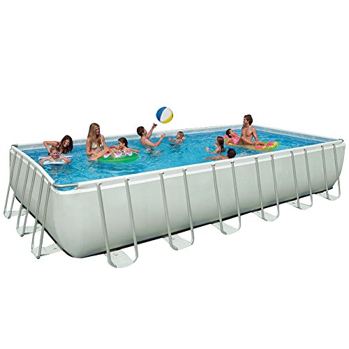 Intex 24ft X 12ft X 52in Rectangular Ultra Frame Pool Set with Sand Filter Pump