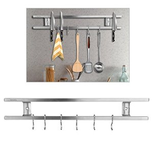 UNONA Magnetic Knife Holder 16 inch Stainless Steel with 6 Removable Hooks installed