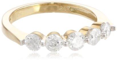 10k-White-Gold-5-Stone-Diamond-Ring-1-cttw-H-I-Color-I2-I3-Clarity-Size-7