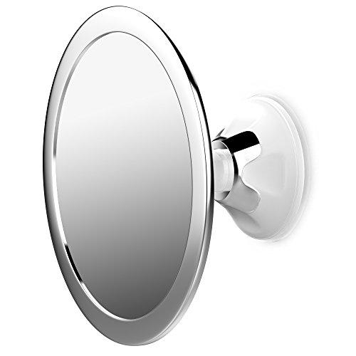 Jerrybox Antibeschlag Duschspiegel Beschlagfreier Rasierspiegel, 360 Grad Drehbarer Badspiegel, Einstellbarer Wandspiegel mit Saugnapf, Rund, Silber, Großartige Geschenkidee