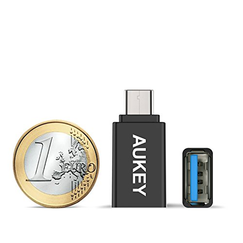 AUKEY Adattatori USB C a USB 3.0 [ Confezione da 2 ] Connettore Tipo C a USB A per Trasmissione Dati e Caricabatteire Apple MacBook, Google Chromebook Pixel, Nokia N1, ecc. ( Nero )