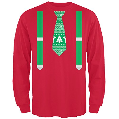 Ugly Christmas Sweater Tie With Suspenders Red Adult Long Sleeve T-Shirt - X-Large