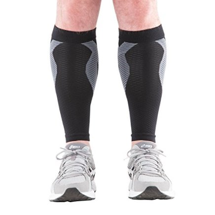 KinesioCure Shin Splint Compression Sleeves With KT Tape Design. Guaranteed Pain Prevention In Legs: Brace Wraps Around Calves To Guard When Running & Cross Training. Best Lymphedema Treatment Socks!