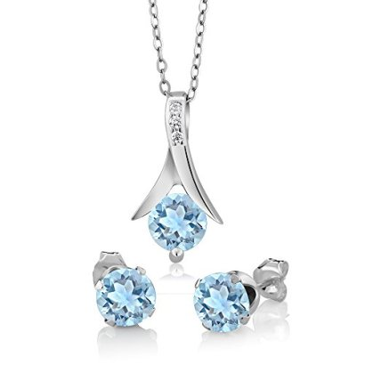 225-Ct-Round-Genuine-Aquamarine-925-Sterling-Silver-Pendant-and-Earrings-Set-With-18-Inch-Silver-Chain