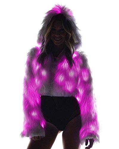 iHeartRaves Solid Light Up Rave Fur Jacket