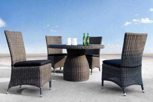 BAHIA Rattan Möbel Sitzgruppe: Rattan Tisch und 4 Stühle Top-Qualität