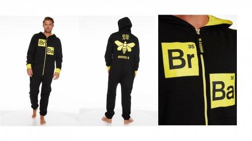 Breaking Bad 'Methylamine Bee' Black & Yellow Hooded 35% Cotton 65 Polyester Onesie Large Jumpsuit