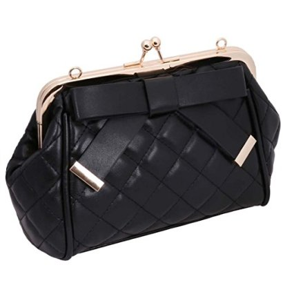 BMC-Womens-Faux-Leather-Quilted-Pattern-Bow-Adorned-Fashion-Clutch-Handbag