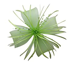Womens Chrysanthemum Style Flower with Feather Clip Fascinator (Light Green)