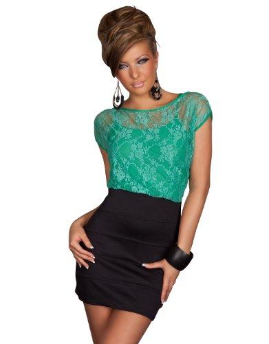 Sexy Kurzarm Minikleid Kleid in modischem Kontrast mit Spitze in Grün Schwarz Gr 34 36 38 Uni