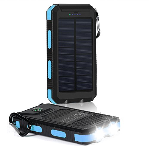 10000mAh 超大容量モバイルバッテリー、携帯充電器 太陽光発電 チャージャー ソーラーパネル、二つLEDライトとコンパス羅針盤)付き ハイキングや地震・災害時にも非常用ライトとしても大活躍!iPhone / iPad / iPod / Xperia / Galaxy / Nexus等対応 深藍