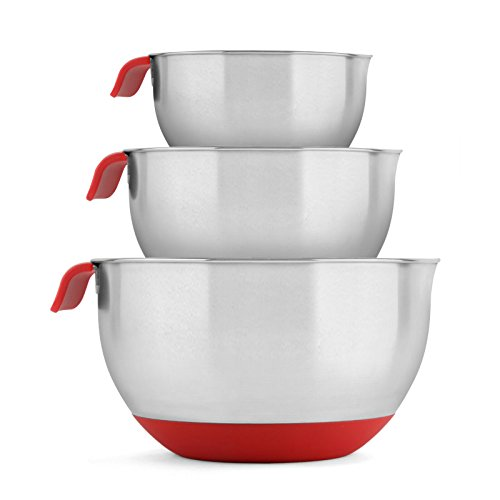 Blümwares 18/10 Stainless Steel Mixing Bowls with Handle and Spout, Set of