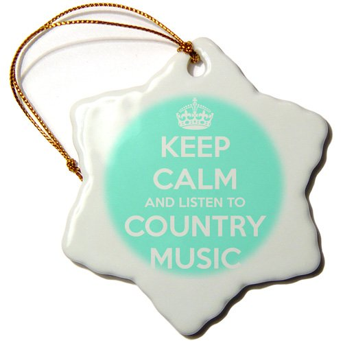 3dRose orn_173403_1 Keep Calm and Listen to Country Music. Turquoise and White. Snowflake Ornament, Porcelain, 3-Inch