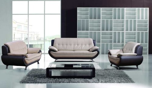 Gray Contemporary Modern Leather Sofa Set – Plushemisphere