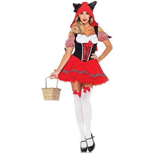 GSG Womens Little Red Riding Hood Wolf Costume Big Bad & Sexy Halloween Dress
