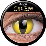 ColourVUE Crazy Farbige Fun Kontaktlinsen gelbe Katzenaugen / Cat Eye 1 Paar (2 Stück) incl. 60ml Pflegemittel und Behälter! Mit Verdrehschutz!