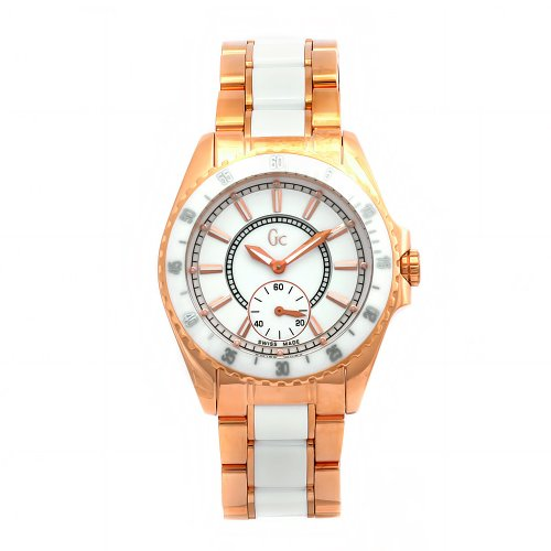 GUESS Women's 47003L1 GC Two-Tone Quartz White Dial Watch