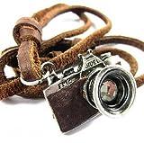 超アンティーク風 レトロ カメラ モチーフ レザー ネックレス カメラ好きの男女に