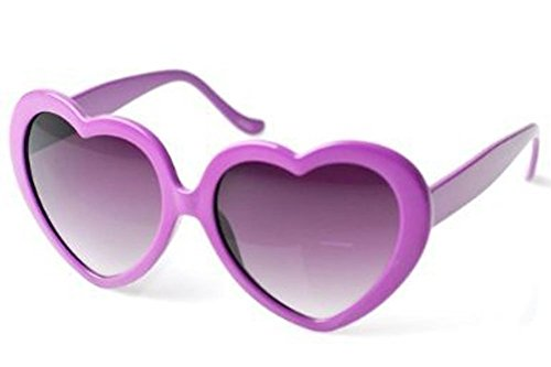 80's - 'Love' Heart shaped sunglasses (More Colors) - Purple / Smoke
