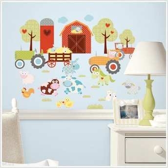 BARNYARD 42 BiG Wall Stickers Farm Animals Tractor Decals Barn Room Decor