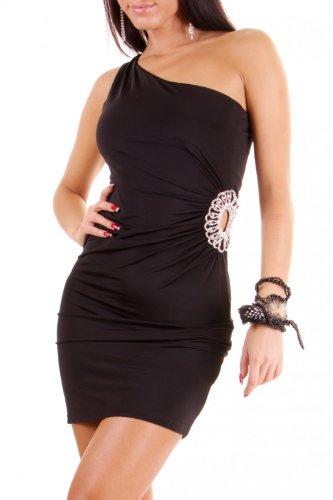 Sexy Damen Sommer Kleid Cocktail Minikleid Partykleid Oneshoulder Glitzersteinchen 5 verschiedene Farben