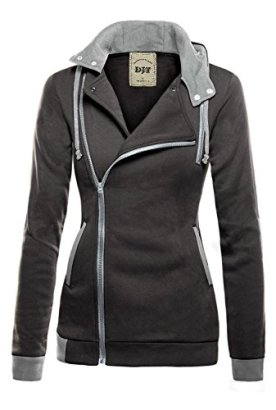 DJT-Womens-Oblique-Zipper-Slim-Fit-Hoodie-Jacket-Small-Dark-Grey