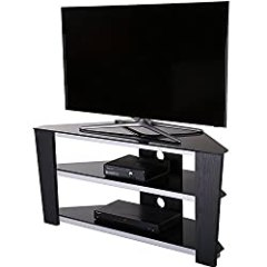 Fitueyes 47 Inch Glass and Wood Corner Tv Stand for up to 50 Inch Flat Screen Television/xbox One/ps4 Black ¡TS312003GB