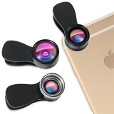 Amir-3-in-1-Clip-on-Cell-Phone-Camera-Lens-Kit-25x-Macro-Lens-036x-Wide-Angle-Lens-180-Fisheye-Lens-for-iPhone-6S-6S-Plus-Samsung-Galaxy-Windows-Most-Smartphones