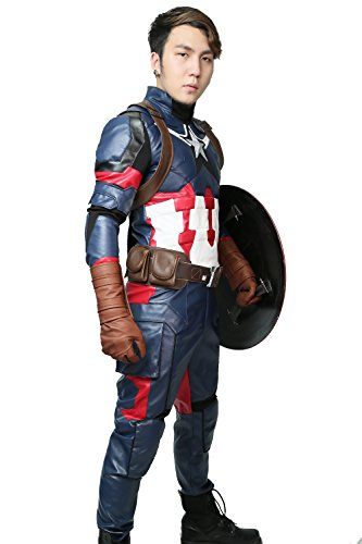 XCOSTUME Civil War Cosplay Costume Steven Rogers Battle Outfit 2016(M)
