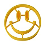 Silicone Alley, Smily Face Silicone Egg Maker Set, Egg & Pancake Ring Set, Set of 2, Yellow