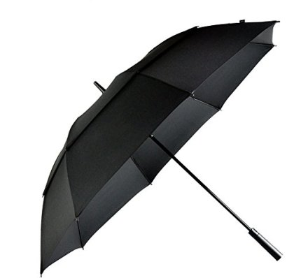 LifeTek-Hillcrest-62-Inch-Golf-Umbrella-Automatic-Open-Extra-Large-Windproof-Double-Canopy-With-Big-Wind-Release-Vents-210T-Teflon-Rain-Repellant-Protection-Sun-Rain-Sports-Formal-Occasions-Black