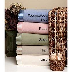 Micro Fleece Blanket with Satin Binding Twin Sage Green