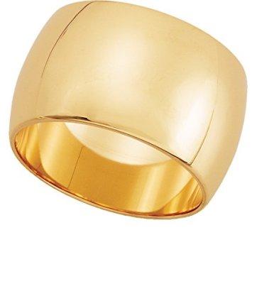 Womens-10K-Yellow-Gold-Half-Round-Wedding-Band-12MM-sz-65