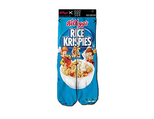 Odd Sox Men's Graphic Food & Beverage Collection Crew Socks Rice Krispies