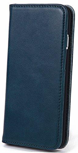 【steady advance】 最高級 本革  牛革  iPhone6s / iPhone6 ケース 【 硬度 9H 液晶保護 強化 ガラスフィルム 】 セット アイフォン6 手帳型 スマートフォン 携帯 電話 カバー マグネット式 財布型 スマホ ケース カバー カード ポケット スタンド 機能 4.7インチ対応 ミラニーズブルー