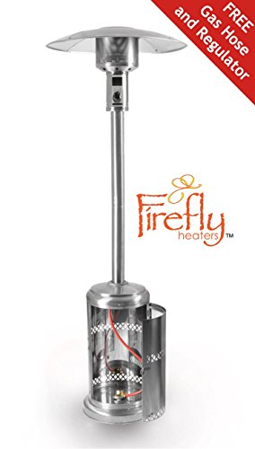 41nN4hlMzrL - BEST BUY #1 Firefly 12kW Premium Stainless Steel Garden Outdoor Gas Patio Heater with Canister Door and Wheels