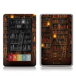 Library Design Protective Decal Skin Sticker for Barnes and Noble NOOK (Black and White LCD) E-Book Reader - High Gloss Coating